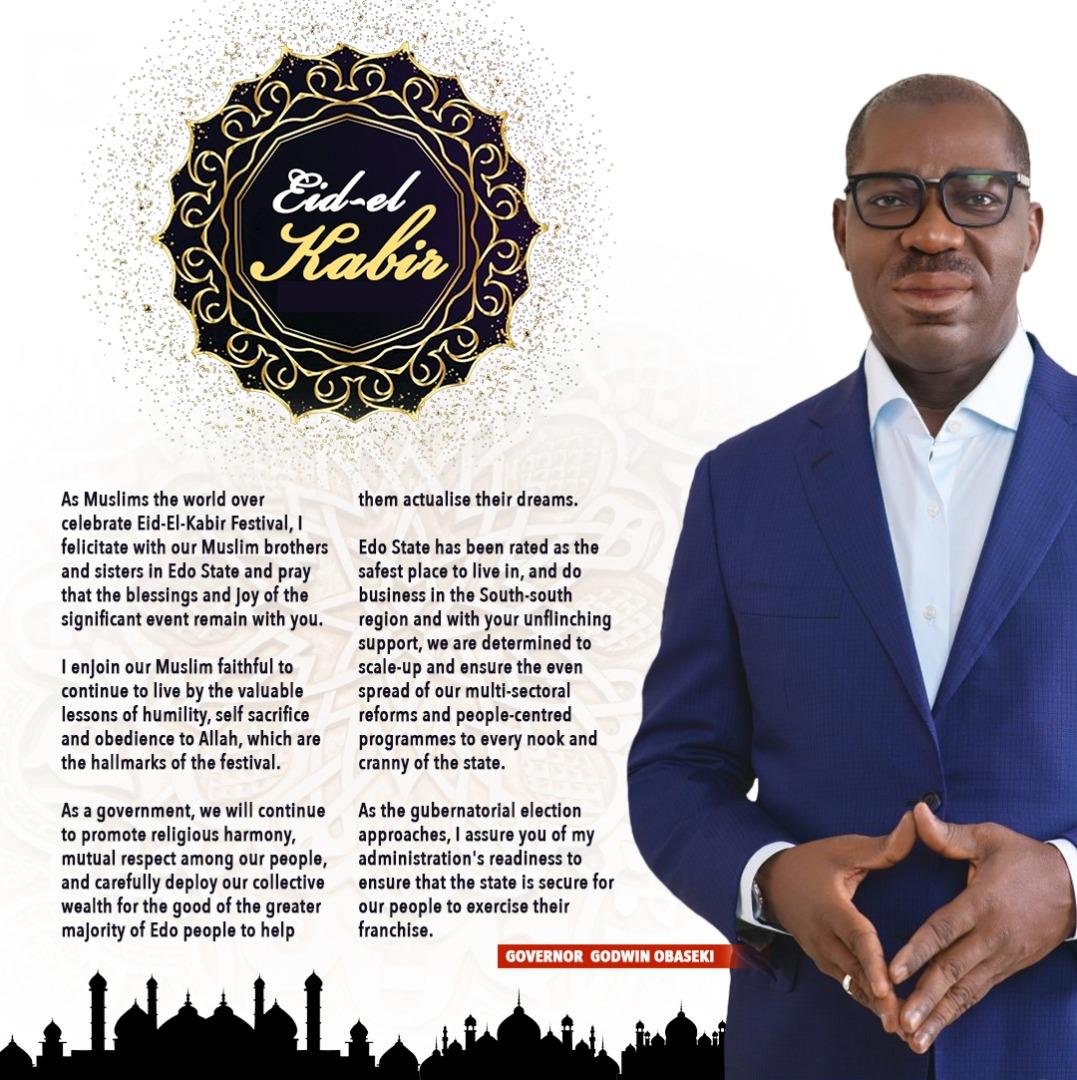 Eid-El-Kabir: Obaseki urges Muslims to reflect on key messages of festival