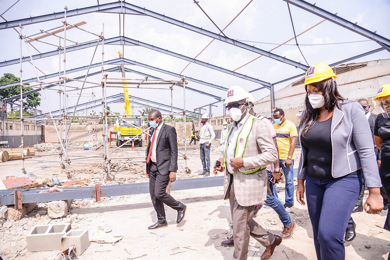 Edo State Governor, Mr. Godwin Obaseki (2nd right) and the Managing Director, EdoJobs, Mrs. Ukinebo Dare (right), during an inspection of the Entertainment Hub, at the Nigerian Observer premises, in Benin City, on Wednesday, February 10, 2021.