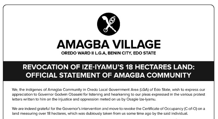 Revocation of Ize-Iyamu's 18 Hectares land: Official Statement of Amagba Community