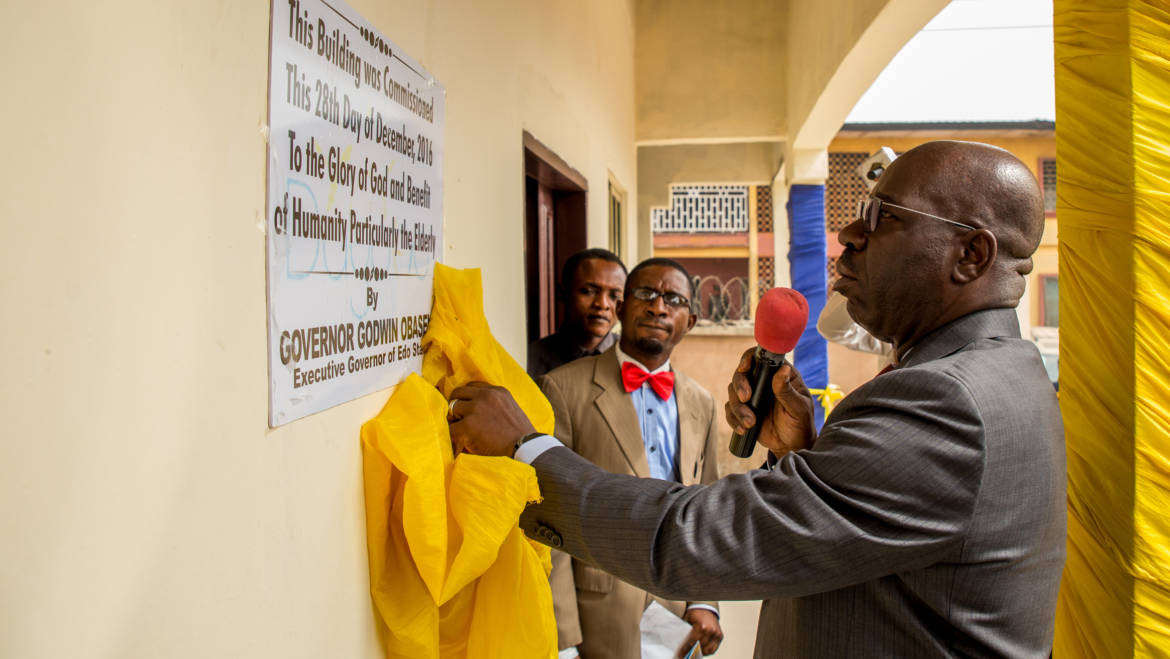 Obaseki inaugurates Dagomo's Elderly Care Center, stresses care for the needy