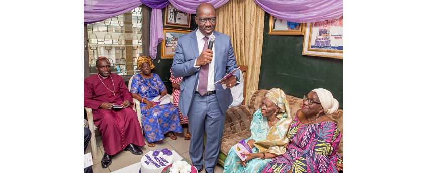 Governor Godwin Obaseki, Felicitating with his aunt Deaconess Victoria Ojemudia during her 90th birthday celebration.