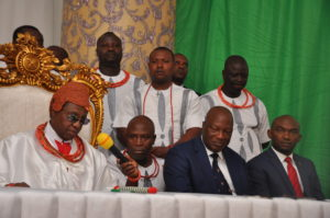 His Royal Majesty, Omo N'Oba N'Edo, Uku Akpolokpolo, Oba Ewuare II, Oba of Benin and Chairman, Edo State Council of Traditional Rulers and Chiefs, Secretary to the Edo State Government, Osarodion Ogie Esq. (2nd from right, front row) and Chief of Staff to the Governor, Mr. Taiwo Akerele (right, front row), during the inauguration of the Edo State Council of Traditional Rulers and Chiefs at the Government House in Benin City on Wednesday, December 13, 2017