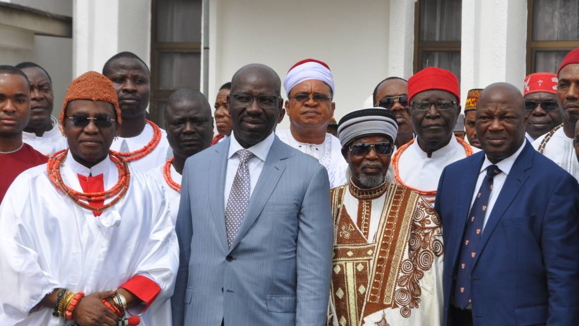 Benin Monarch throws weight behind anti-human trafficking fight, as Obaseki inaugurates Traditional Council