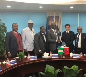 L-R: Commissioner for Finance, Hon. Osagie Inegbedion; Chairman, Edo State Strategic Planning Team, Prof. Julius Ihonvbere; Nigerian Ambassador to China, Amb. Usman Bakori; Edo State Governor, Godwin Obaseki; Chairman, China Harbour Engineering Company (CHEC) Ltd, Mr Lin Yichong; Managing Director, ICMG Securities Limited, Micheal Osime, during the signing of a Memorandum of Understanding (MoU) for the construction of Gelegele Seaport Project, in China, on Monday, January 8, 2018.