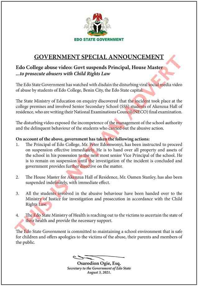 Edo College abuse video: Govt suspends Principal, House Master